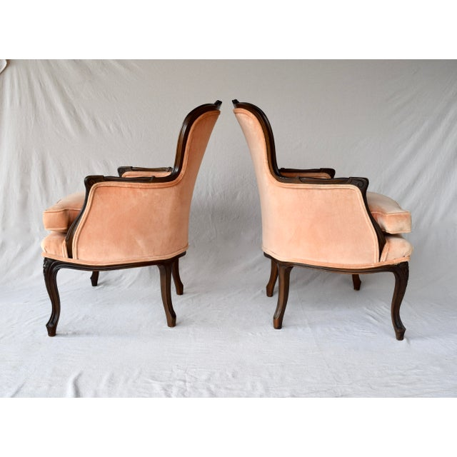 Salmon Pair of Louis XV Carved Walnut Bergere Chairs For Sale - Image 8 of 12