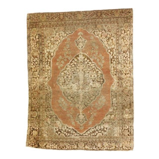 Distressed Antique Persian Tabriz Rug With Warm Spice Tones - 03'10 X 05'01 For Sale