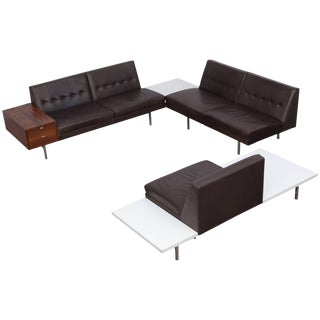 George Nelson Modular Sofa in Dark Leather for Herman Miller For Sale