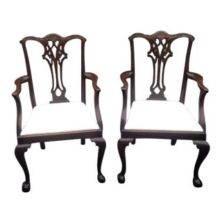 Mahogany Chippendale Style Armchairs - A Pair For Sale
