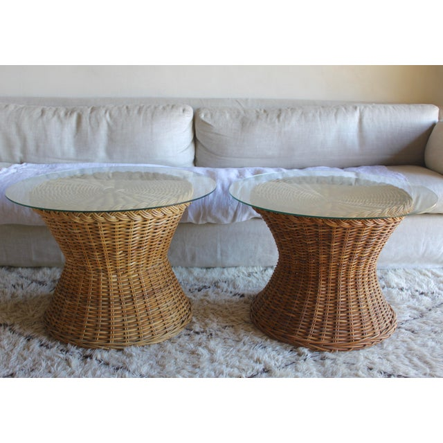 Brown Vintage Mid Century the Wicker Works Rattan Handwoven High End Tulip Side Tables Franco Albini Gabriella Crespi Style - a Pair For Sale - Image 8 of 12