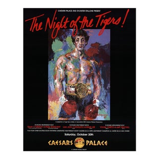 """Leroy Neiman the Night of the Tigers 28"""" X 22"""" Poster 1981 Expressionism Black, Multicolor Vegas, Boxer, Boxing, Movie, For Sale"""