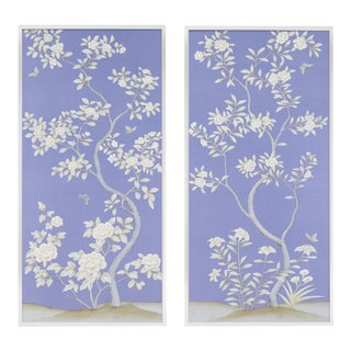 """Jardins en Fleur """"Inverness"""" Chinoiserie Hand-Painted Silk Diptych by Simon Paul Scott in White Wood Frame - a Pair For Sale"""