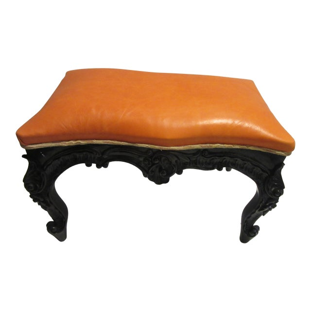 1970s Vintage Modified Lacquered Mahogany Footstool For Sale