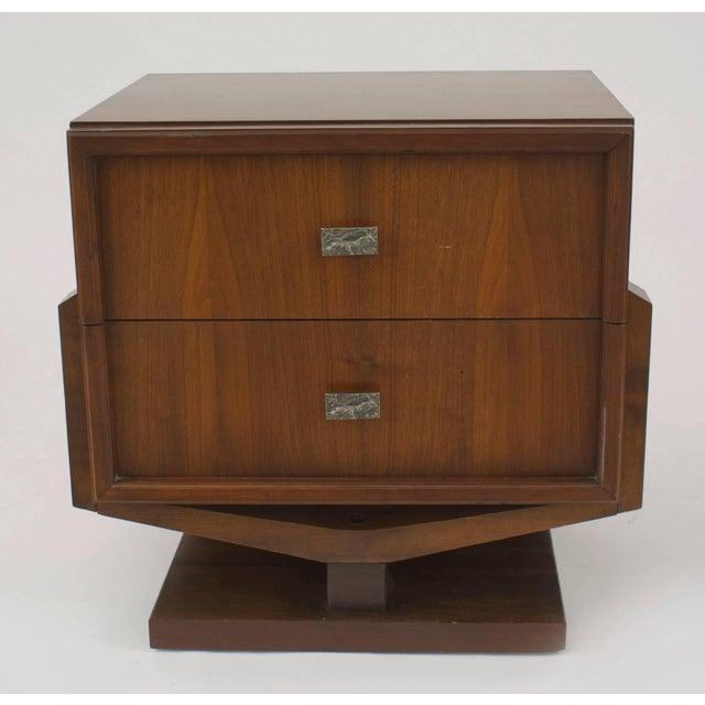 Brutalist American '1970s' Brutalist Style Walnut Bedside Table For Sale - Image 3 of 3