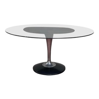 1970s Mid-Century Modern Chromcraft Smoked Glass Oval Dining Table