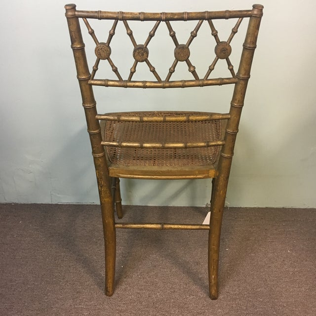 19th Century Giltwood Faux Bamboo Chair For Sale - Image 4 of 7