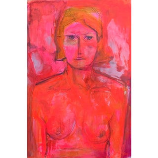 """""""Lonesome Red"""" by Trixie Pitts Large Abstract Figure Painting For Sale"""