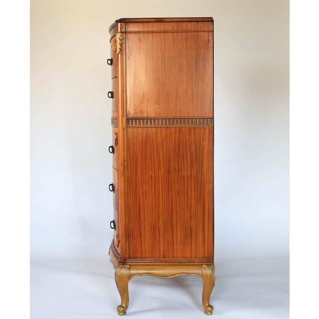Louis XV Burlwood Bow Front Tall Dresser For Sale - Image 4 of 13