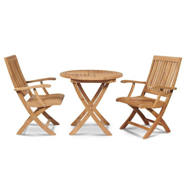 Contemporary Devon 3-Piece Teak Round Folding Table Bistro Set For Sale - Image 3 of 8