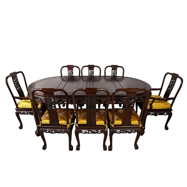 20th Century Chinese Carved Rosewood Dragon Dining Set For Sale - Image 13 of 13