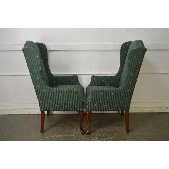 Thomasville Pair of Cherry Queen Anne Host Wing Chairs - Image 4 of 13