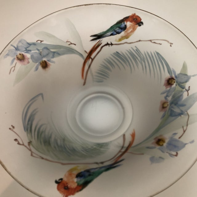 Mid 20th Century Hand Painted Parrots and Floral Glass Decorative Bowl For Sale - Image 5 of 8
