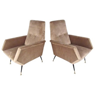 Pair Italian Modern Modern Zanuso Style Lounge Chairs For Sale