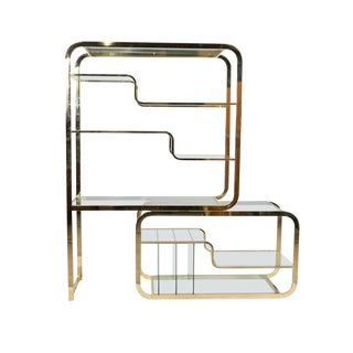 Milo Baughman Dia Brass and Glass Etagere For Sale
