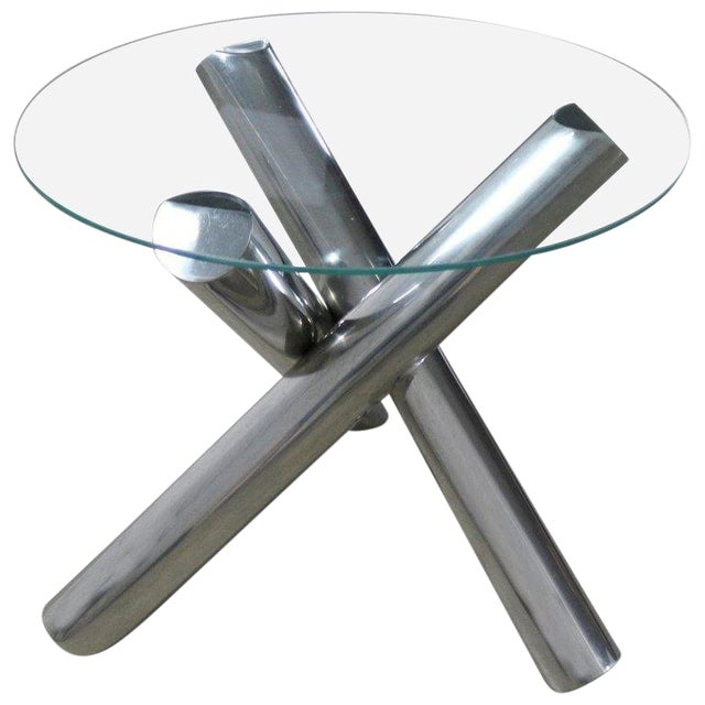 Tubular Stainless-Steel Jacks Tripod End Table Round Glass Top Style of Milo Baughman For Sale
