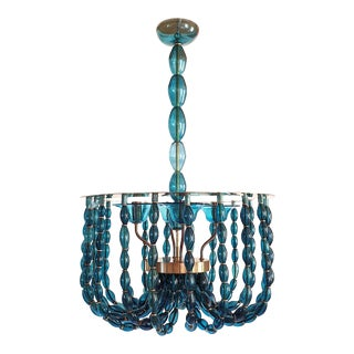 Large Blue Murano Glass Chandelier, Mid Century Modern, Venini Style 1960s For Sale