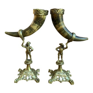 Antique English Trophy Hunt Horn Epergne Brass Renaissance Soldier - a Pair For Sale