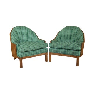 Brandt Ranch Oak Mid Century Pair Barrel Back Lounge Chairs For Sale