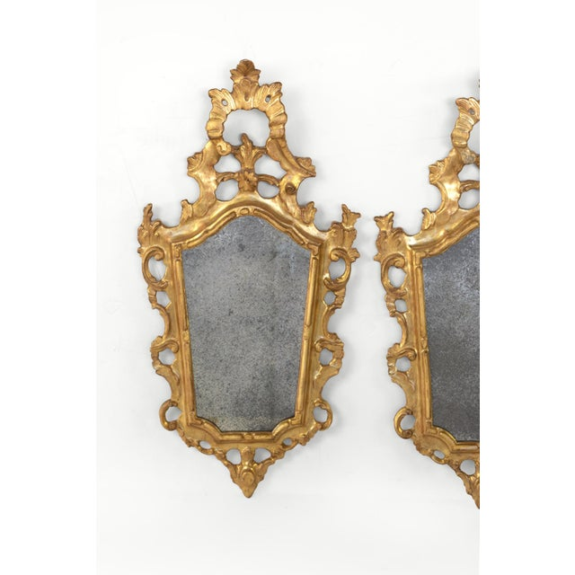 Pair of Small-Scale Carved French Rococo Style Mirrors; France, Circa 1890 For Sale - Image 4 of 7