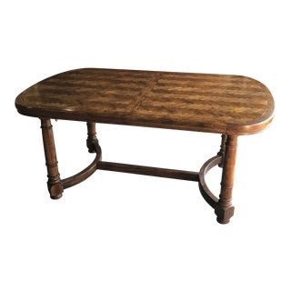 1960s Jacobean Parquet Extension Dining Table For Sale