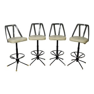 Futura Industries 1970s (MCM) Smoked Lucite Set of 4 Swivel Barr Stools