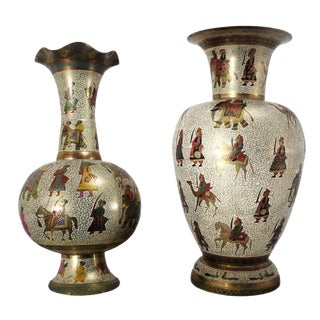Persian Etched & Enameled Cast Brass Vases - A Pair