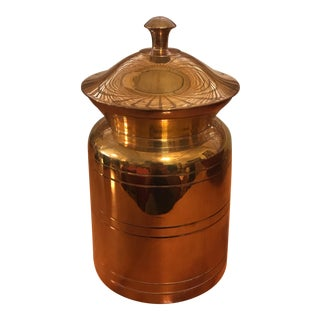 1960s Boho Chic Brass Lidded Jar/Urn For Sale