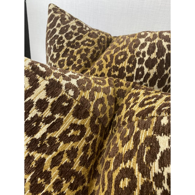 "Transitional Brown and Gold Leopard Chenille 22"" Pillows-A Pair For Sale - Image 3 of 4"