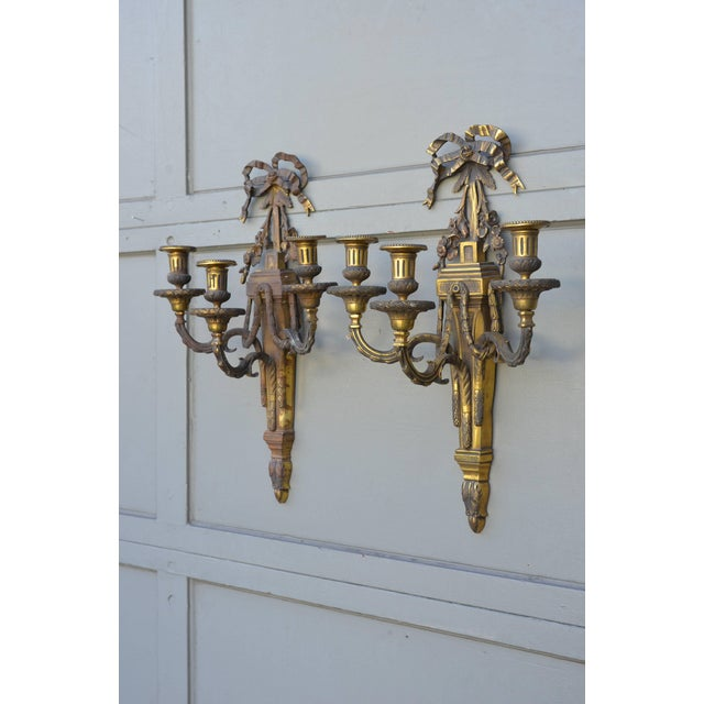 Pair of Monumental Gilt Bronze Louis XVI Style Sconces For Sale - Image 4 of 8