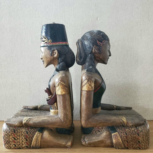 Indonesian Carved Wood Statues, a Pair For Sale - Image 4 of 9