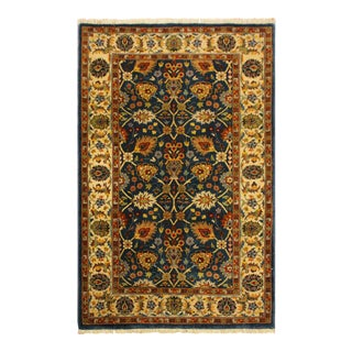 Istanbul Niesha Teal/Ivory Turkish Hand-Knotted Rug -3'3 X 4'11 For Sale