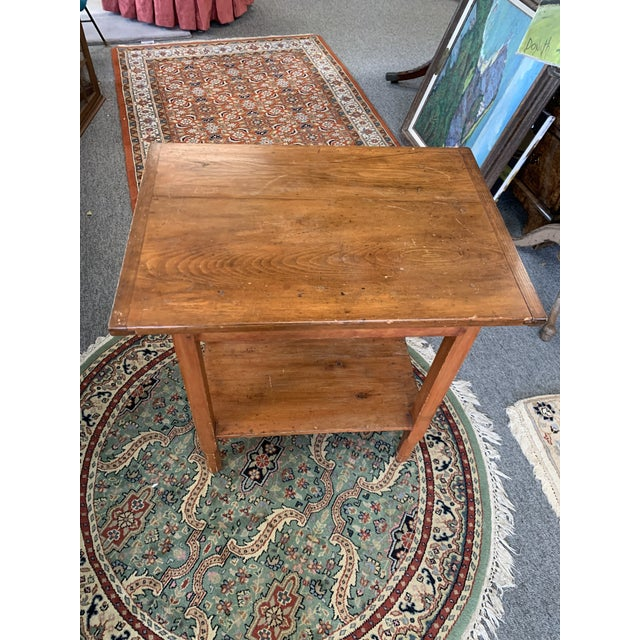 Antique pine two tier side table. With knots visible for that country-rustic look!