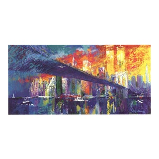 """Leroy Neiman Brooklyn Bridge 19"""" X 34.75"""" Poster 1995 Expressionism Multicolor Twin Towers, World Trade Center, Brooklyn For Sale"""