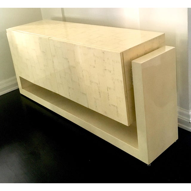 Karl Springer Style Faux Bone Floating Credenza - Image 2 of 11