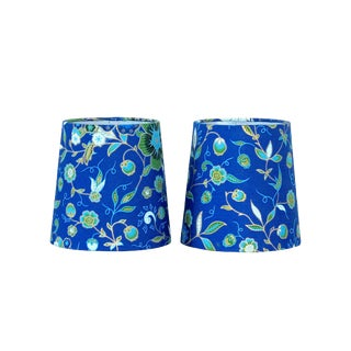 Contemporary Blue Floral Sconce Shades - a Pair For Sale