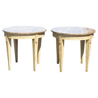 Directoire Style Marbletop Side Tables - A Pair For Sale