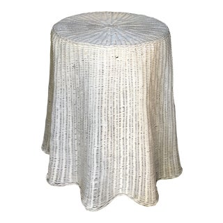 Trompe L'oeil Skirted White Side Table For Sale