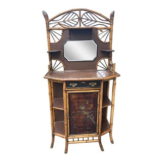 Antique English Bamboo Chinoiserie Hall Stand Etagere Cabinet For Sale