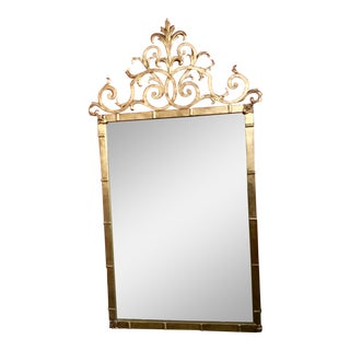 Palladio Ornate Gilt Wrought Iron Mirror For Sale