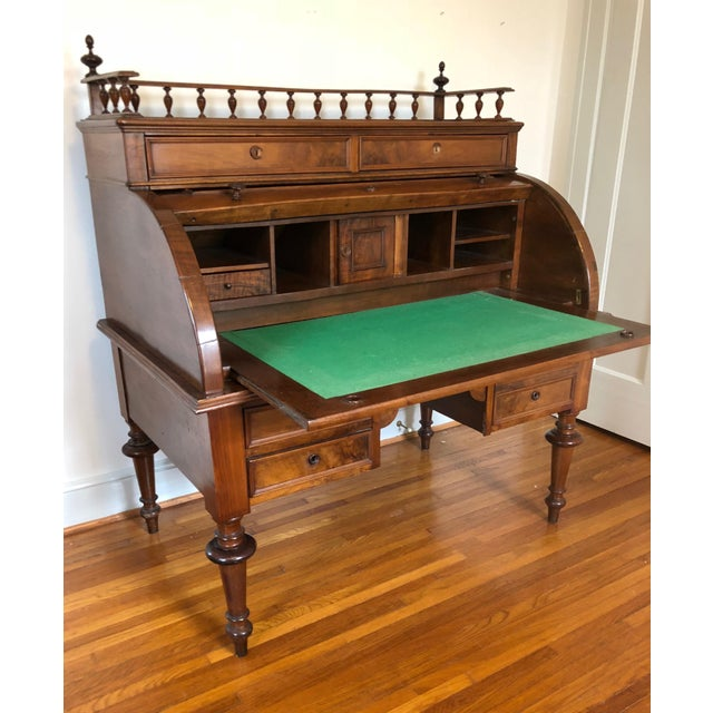 Traditional Victorian Style Rolltop Desk For Sale - Image 3 of 10
