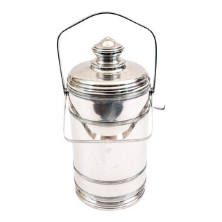 Sterling Silver Cartier Covered Ice Bucket with Two Handles For Sale