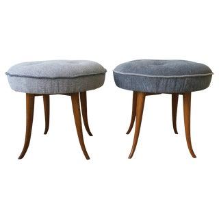 Austrian Blue Upholstered Stools After Josef Frank For Sale