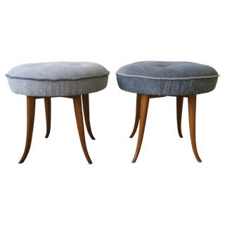 Pair of Austrian Blue Upholstered Stools After Josef Frank For Sale