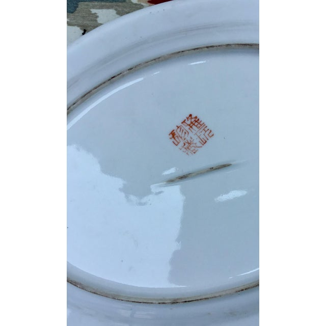 Red 1940s Vintage Chinoiserie Rooster Platter For Sale - Image 8 of 9