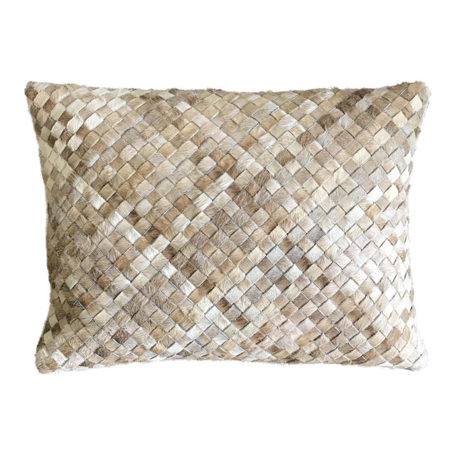 Williams Sonoma Woven Leather Hide Throw Pillow For Sale