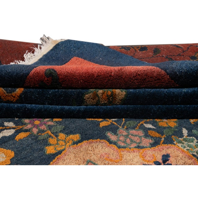 Early 20th Century Early 20th Century Antique Art Deco Chinese Square Wool Rug 13 X 12 For Sale - Image 5 of 13