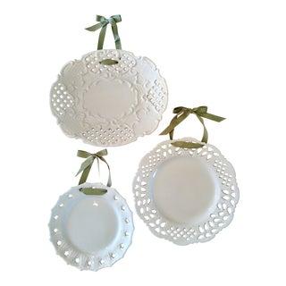 Milk Glass Latticework Decorative Plates - Set of 3 For Sale
