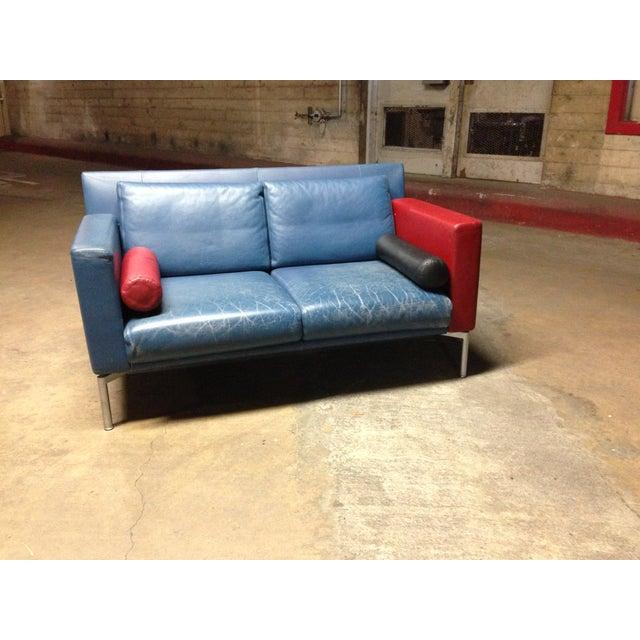 Vintage 1980s Italian Blue Leather Sofa - Image 4 of 10