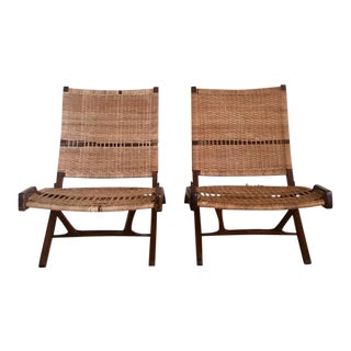 Pair of Danish Caned Foldable Chairs in Style of Hans Wegner, 1960s